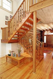 Log cabin, open staircase, reclaimed wood - traditional - staircase - atlanta - by Clark & Zook Architects, LLC