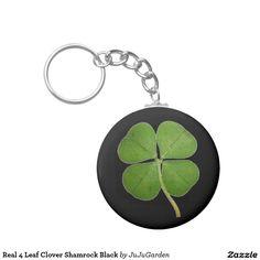 Real 4 Leaf Clover Shamrock Black Basic Round Button Keychain