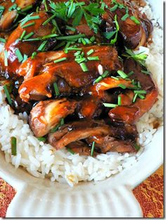 crock pot teriyaki chicken--so good! didn't even do the last step with cornstarch. just shredded chicken; mixed back with sauce in crockpot; cooked a little longer and served over rice