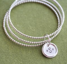 Totally Twisted Sterling Silver Bangles with Hand Stamped Sterling Silver Charm with Rim