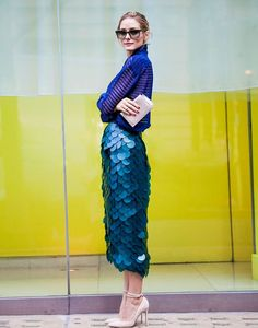 Trending Fashion Style: High-waisted Skirt. -Olivia Palermo in Burberry high-waist fish-scales mermaid pencil skirtstreet style during London Fashion Week SS 2015.