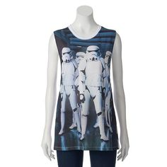 Honor the Empire in this awesome juniors' Mighty Fine Star Wars troop group zip-back muscle tee, perfect with jeans and thong sandals.