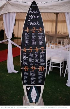 A wedding seating chart is usually simple and organized and it's very easy for your guests to figure out where they are sitting with minimal searching to find their name. We have seen numerous seating charts- form a s. Surf Wedding, Wedding Tips, Wedding Table, Destination Wedding, Wedding Planning, Dream Wedding, Wedding Day, Wedding Receptions, Lake Theme Wedding