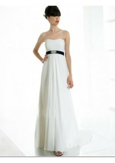 Chiffon Strapless Rouched Bodice With Black Belt In A-line Skirt And Sweep Train Simple Informal Beach Wedding Dress WD0339