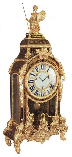 SOLD $15,000 - A Rare 18th century French Boulle Mantle Clock. With Dore Bronze Mounts,figural Surmount And Figural Bronze Relief Figures, Signed By Maker, Chastelain A Paris on dial and same on back of brass movement, in script; rack of 3 bell movement, exposed on top of clock on back as made; complete with pendulum.