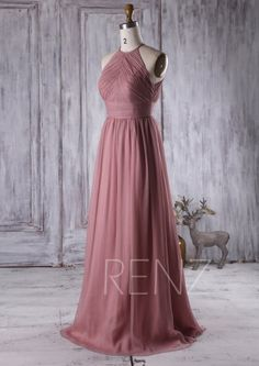 2016 Dusty Thistle Bridesmaid Dress Ruched Chiffon by RenzRags