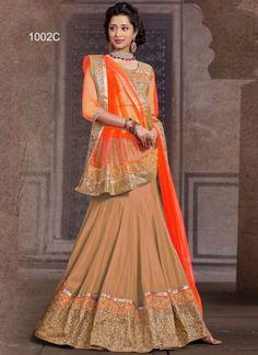 Brown With Orange Chinon Plan Net Satin Lehenga Choli  http://www.angelnx.com/Lehenga-Choli/Wedding-Lehenga-Choli