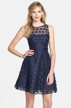 Betsey Johnson Navy Blue Polka Dot Sheer Mesh Overlay Fit Flare IVORY Dress S 6