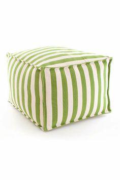 #DashAndAlbert Fresh American Trimaran Stripe Sprout/Ivory Indoor/Outdoor Pouf