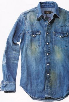 denim shirt in your closet? Denim Shirt Men, Denim Ideas, Ralph Lauren, Western Shirts, Vintage Denim, Denim Fashion, Jeans Style, Blue Jeans, Cool Style