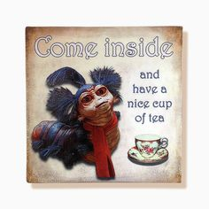 "Labyrinth worm, ""Come inside and have a nice cup of tea"", handmade 8""x8"" wooden wall art"