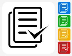 Document Check Mark Icon Flat Graphic Design vector art illustration