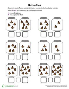 How many butterflies are in the jar? Help your child count up the insects and compare the amount in each jar with this fluttering worksheet.