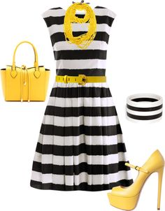 Well.. I have the yellow bag & yellow bubble necklace & a black & white stripe flare dress.. Now I just need solid yellow shoes! Wonder if I could do a black shoe instead? Too Plain?