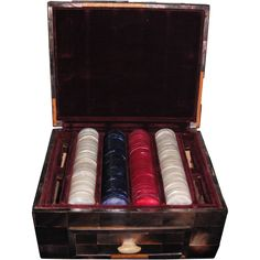 Unique Mother of Pearl Poker Chips in Mother of Pearl Box $900.00