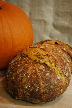 First off, many thanks to Karin (hanseata) for posting her bake of Dan Lepard's pumpkin whey bread. What a great idea, and not just for autumn bakes. This is a sourdough, whey-less take on that lovely bread.    I love what the pumpkin does for this bread! The colors are striking, the crumb is exceptionally moist, and the flavor is wonderfully complex. The amount of pumpkin added to the dough will affect the flavor of the finished loaf pretty dramatically. The flavor using this formula is…