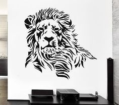 Lion Wall Stickers Beautiful Predator Animal Tribal Zoo Vinyl Decal (ig873)