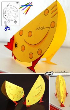 "cute chicken printable and a cute bunny that rocks back and forth - use for ""The Little Red Hen"" craft - let kids color, fold, and tape on legs - using fine motor skills"