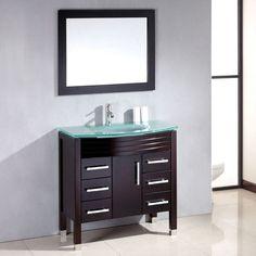 "36"" Wood & Glass Single Basin Sink Bathroom Vanity Set 8130"