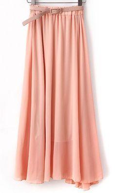 Candy-colored chiffon dress with belt