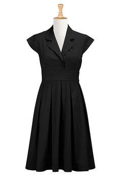 eshakti black Retro poplin shirtdress - Mine now! Plus Size Dresses, Dresses For Work, Plus Size Workwear, Casual Dresses, Fashion Dresses, Pleated Dresses, Winter Dresses, Dance Dresses, Women's Dresses