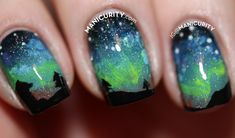 Northern Lights manicure; inspiration for Calgary Maker Challenge.