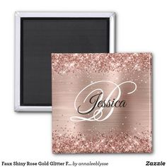 Faux Shiny Rose Gold Glitter Foil Monogram Magnet