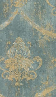 Maybe in beside a gold wall, possibly in the front room?~S French blue damask wallpaper Victorian Wallpaper, Damask Wallpaper, Hallway Wallpaper, French Wallpaper, Textured Wallpaper, French Decor, French Country Decorating, Chinoiserie, Damask Curtains