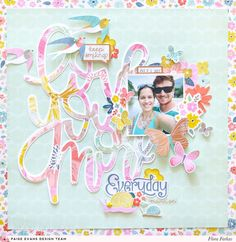 Focus on big title scrapbook layout made with @pinkpaislee @paigeevans Turn the Page collection by @floramfarkas. #pinkpasilee #ppturnthepage