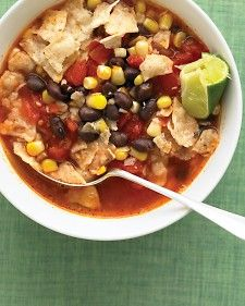 ready in 15 min! Tortilla Soup with Black Beans  Can't believe I'm recommending a Martha Stewart recipe as a fantastic, easy meal, but I am. Used Mexican flavored canned tomatoes and canned corn, threw in some chicken, and it was excellent! And, with all the veggies, decently healthy as well!