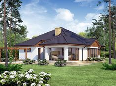Divna prizemnica sa tri spavaće sobe i velikom terasom (DETALJAN PLAN) Small House Exteriors, Modern Bungalow House, Bungalow House Plans, Dream House Exterior, Village House Design, Village Houses, Style At Home, Tropical House Design, House Construction Plan