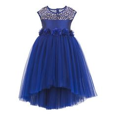Girls blue hi-low party dress  5 Rose flower corsages at waist gives an elegant look. Satin sash belt tie-up for easy wearing & better fit. Button opening at the back. Sequins embellishment at the front bodice for an elegant look. Hi-Low skirt pattern.