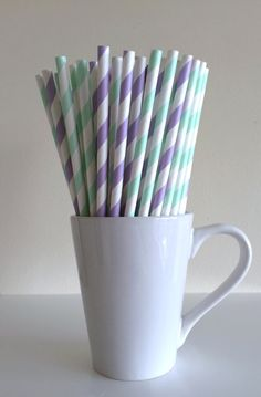 Paper Straws - Mint Green and Light Purple and White Striped Party Straws Birthday Wedding Baby Shower Bridal Shower Mason Jar Straws Mix