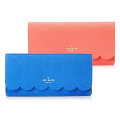kate spade new york Lily Avenue Kiki Clutch Fold-over clutch with scalloped edging and embossed logo  Island Deep/Fresh Air Geranium/Bright Geranium