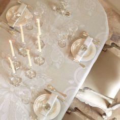 Le Jacquard Francais Diamant Crystal Table Linens. http://www.jbrulee.com/cat-le-jacquard-francais.cfm