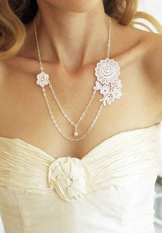 love this lace and pearl necklace. Beautiful for a wedding, or for everyday.
