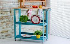 Idea Store - Compre (CARRO GOURMET DOBRÁVEL AQUILES STAIN AZUL - 104x45x88 CM)
