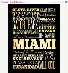 ON SALE Miami Florida Typography Art Poster / by LegacyHouseArt, $39.95