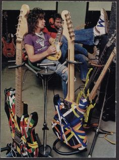 "Eddie Van Halen - The guitar he's holding, pretty sure, was made for him by a fan & is the one he wrote ""Little Guitars"" w/ - it ain't no damn Chiquita (or however u spell it;-)"