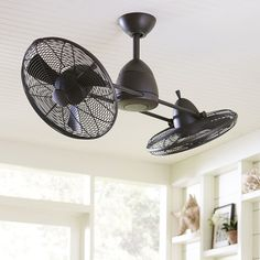 Fredrickson ceiling fan silver anchored by a bright halogen bulb birch lane fredrickson ceiling fan bronze anchored by a bright halogen bulb this high performance dual ceiling fan adds an industrial element aloadofball Image collections