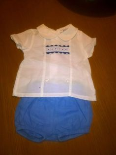 Alber white/blue top & blue shorts in excellent condition Blue Shorts, Blue Tops, Baby Boys, Onesies, Shirts, Stuff To Buy, Clothes, Fashion, Moda