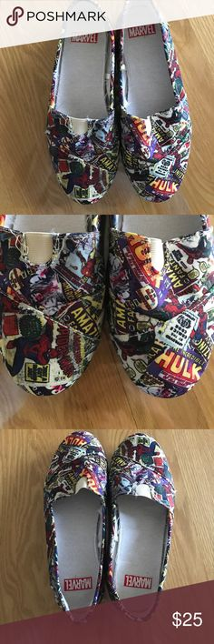 "Marvel comics slip on shoes(LIKE toms) These are ""medium"" size but they fit me as an 8.5 shoe size. These are unique, one of a kind. Awesome for a superhero or comic fan. Comfortable, lightweight good for the summer time. Compare to TOMS shoes. TOMS Shoes Flats & Loafers"