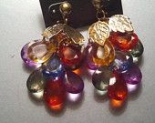 """VINTAGE BRIGHT DANGLES - 3 1/2"""" Retro, Costume Gold Tone w/ faceted, Multicolored stones Earrings"""
