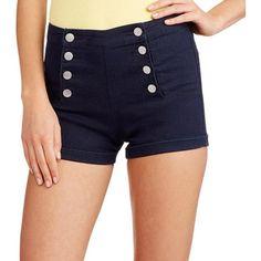 No Boundaries Juniors Hi Waisted Sailor Shorts