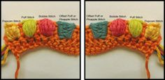 Great tutorial on Cluster Stitches, explaining in detail the difference between the Popcorn stitch, the Bobble stitch, the Puff stitch and the Offset Puff stitch or Pineapple stitch.