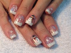 Snowman nails nails nails, classy acrylic nails и short nails art. Holiday Nail Designs, Cute Nail Designs, Acrylic Nail Designs, Christmas Gel Nails, Holiday Nails, Christmas Art, Hair And Nails, My Nails, Pink Nails