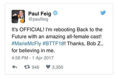 Paul Feig joined in on some April foolishness. Read about this and more of the best geeky April Fools jokes soon on our blog. #paulfeig #backtothefuture #bttf #allfemale #cast #allfemalecast #ghostbusters #ghostbusters2016 #aprilfools