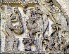 Detalle del pesado de las almas en el tímpano de la portada occidental de la Catedral de San Lázaro de Autun