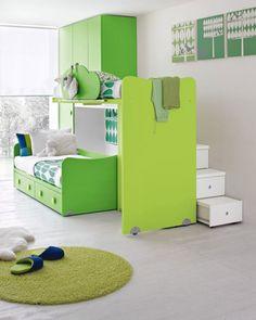 green kids bedroom interior design idea for free #kidsbedroom #kidbedroom