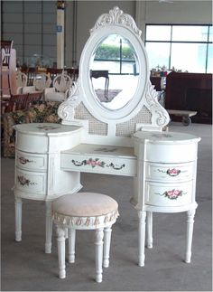 Classic white dressing table and chair